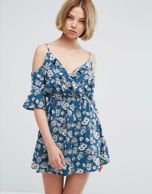 Parisian Короткое приталенное платье с открытыми плечами и цветочным принтом Pa. Цвет: мульти