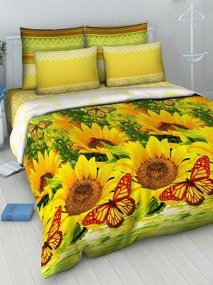 Комплект постельного белья из бязи 2 спальный Василиса. Цвет: желтый, зеленый, коричневый