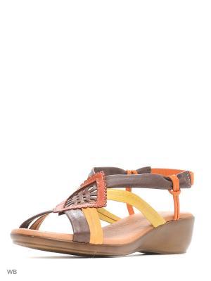 Босоножки Valencia. Цвет: темно-коричневый, оранжевый, желтый