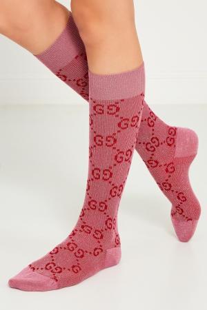 Розовые носки с монограммами Gucci. Цвет: розовый