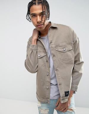 Sixth June Джинсовая oверсайз-куртка с рваной отделкой и стираным эффектом. Цвет: светло-бежевый