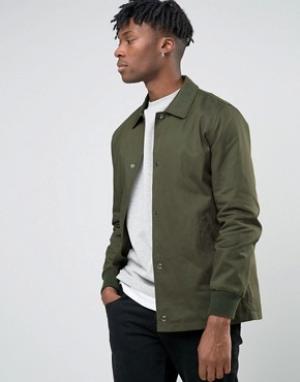 ASOS Хлопковая спортивная куртка цвета хаки. Цвет: зеленый