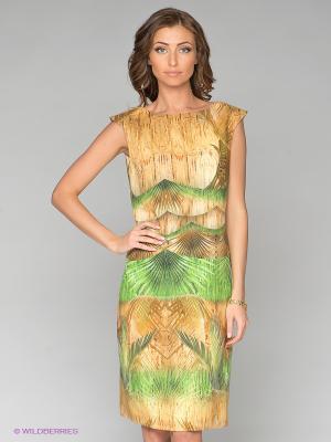 Платье Elegance. Цвет: зеленый, оранжевый
