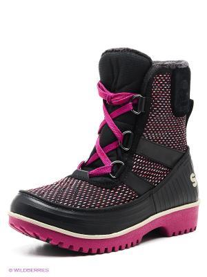 Ботинки SOREL. Цвет: черный, фуксия