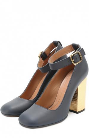 Кожаные туфли на каблуке с отделкой из кожи питона Marni. Цвет: синий