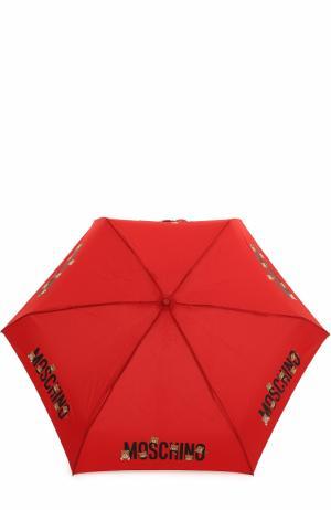 Складной зонт с брелоком Moschino. Цвет: красный
