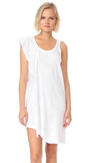 Свободное платье с оборкой одной стороны Wilt. Цвет: белый