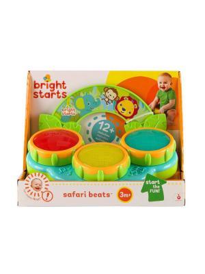 Музыкальная игрушка Барабаны Сафари BRIGHT STARTS. Цвет: синий, желтый, светло-зеленый