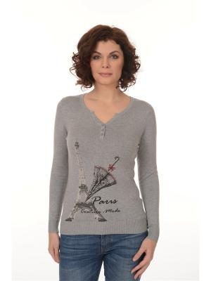 Кофта ORFAMA с романтичным принтом в виде Эйфелевой башни зонтом, украшена стразами.. Цвет: серый