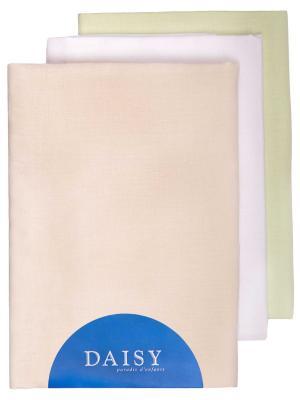 Пеленка Хлопок унисекс 3 шт. DAISY. Цвет: салатовый, бежевый, белый