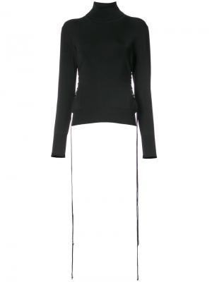 Пуловер с отворотной горловиной и шнуровкой David Koma. Цвет: чёрный