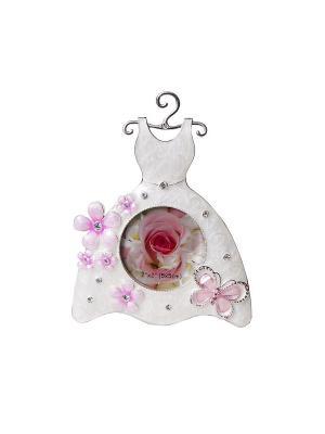 Минирамка Платье 5х5см металлическая со стразами PLATINUM quality. Цвет: белый, розовый