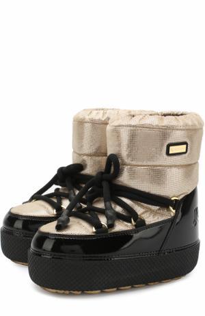 Текстильные утепленные сапоги Jog Dog. Цвет: золотой