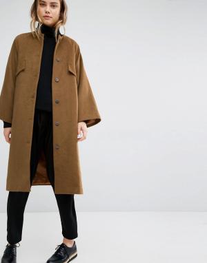 Paisie Oversize-пальто без воротника. Цвет: коричневый