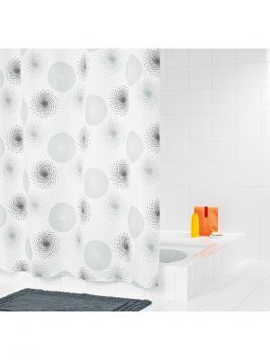 Штора для ванных комнат Hurricane серый/серебряный 180*200 RIDDER. Цвет: черный, белый, серый