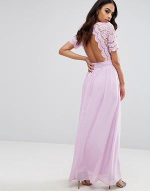 Club L Платье макси с ажурным верхом. Цвет: фиолетовый