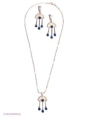 Комплект Lovely Jewelry. Цвет: золотистый, темно-синий