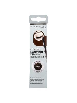 Гель-лайнер для глаз Lasting Drama, стойкий, коричневый, 3 г Maybelline New York. Цвет: коричневый