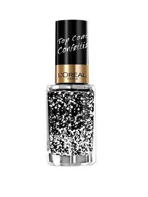 Верхнее покрытие для ногтей Top Coat, оттенок 916, Конфетти-эффект, 5 мл L'Oreal Paris. Цвет: белый, черный