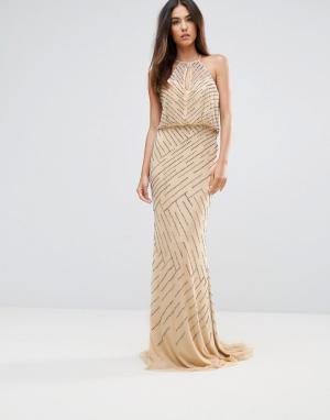 Forever Unique Платье макси с драпировкой на спине. Цвет: кремовый