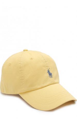 Хлопковая бейсболка Polo Ralph Lauren. Цвет: желтый