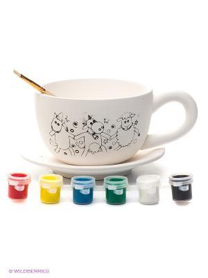 Набор для росписи керамики Чайная пара Лавка Чудес. Цвет: белый, желтый, зеленый, красный, синий, черный