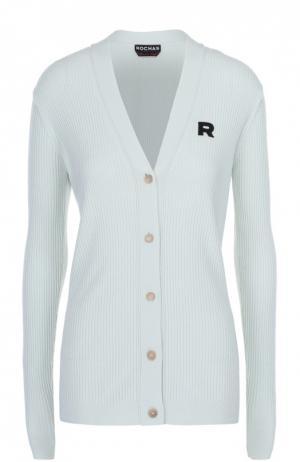 Кардиган фактурной вязки с логотипом бренда Rochas. Цвет: светло-зеленый