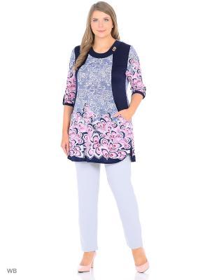 Туника, модель Павлина Dorothy's Нome. Цвет: темно-синий, белый, розовый