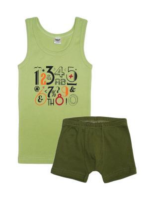 Комплект (Трусы-боксеры+майка) Let's Go. Цвет: зеленый, оливковый