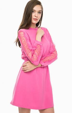 Короткое платье цвета фуксии с открытыми плечами Pinko. Цвет: фуксия