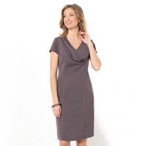 Платье прямое саржевое ANNE WEYBURN. Цвет: черный