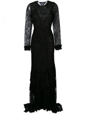Длинное кружевное платье с открытой спиной Roberto Cavalli. Цвет: чёрный