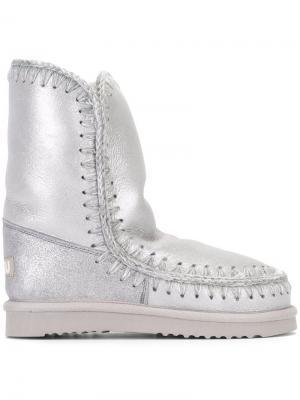 Ботинки Eskimo с блестками Mou. Цвет: серый
