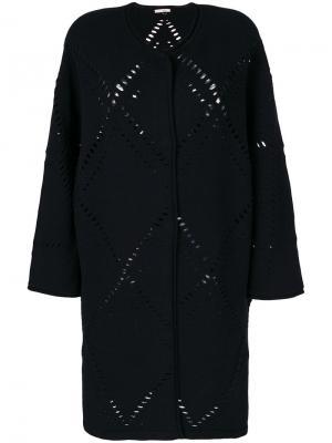Пальто-кардиган с перфорацией Mantu. Цвет: чёрный