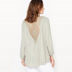 Блузка с оригинальной отделкой на спине ANNE WEYBURN. Цвет: белый,хаки