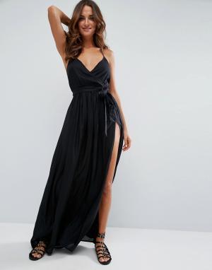 ASOS Пляжное платье макси с запахом. Цвет: черный