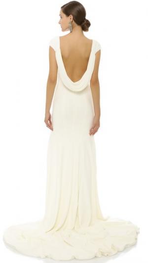 Вечернее платье Dar с вырезом-хомутом сзади Theia. Цвет: золотой