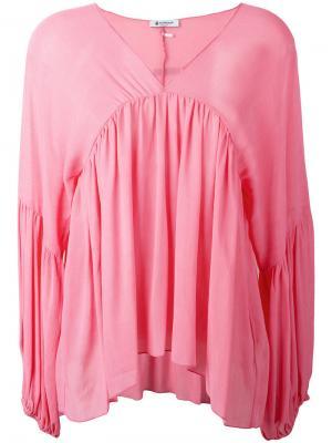 Блузка с драпировками и V-образным вырезом Dondup. Цвет: розовый и фиолетовый