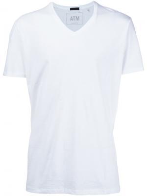 Классическая футболка с V-образным вырезом Atm Anthony Thomas Melillo. Цвет: белый