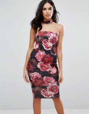 Jessica Wright Платье миди с горловиной-чокер. Цвет: черный