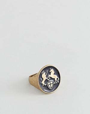 ASOS Золотистое кольцо-печатка с гербом DESIGN. Цвет: золотой