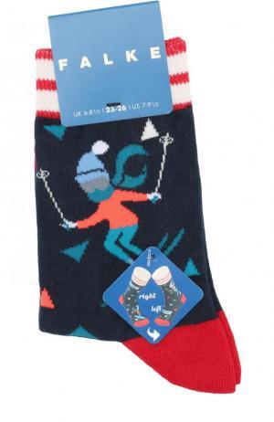 Носки с принтом Falke. Цвет: темно-синий