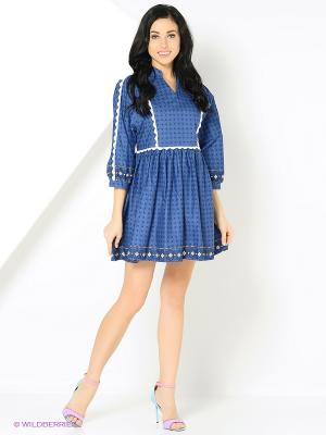 Платье с тесьмой на груди синее MONOROOM
