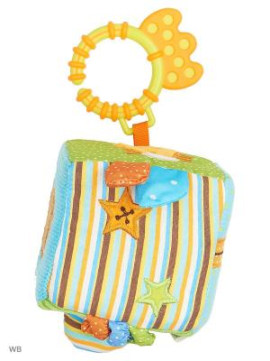 Кубик-подвеска для развития тактильных ощущений Мишка Вилли Жирафики. Цвет: голубой, оранжевый, желтый, зеленый