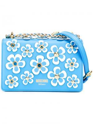 Декорированная сумка на плечо Moschino. Цвет: синий