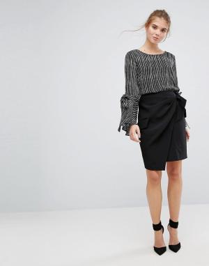 Closet London Плиссированная юбка с запахом и завязкой на поясе. Цвет: черный