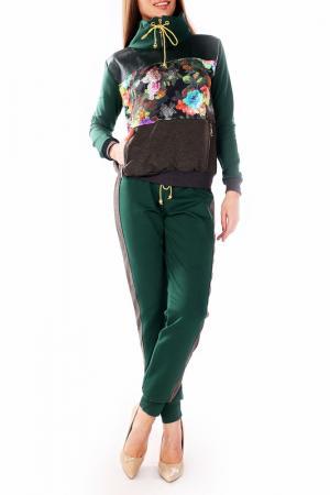 Костюм: толстовка, брюки Majaly. Цвет: темно-зеленый, серый