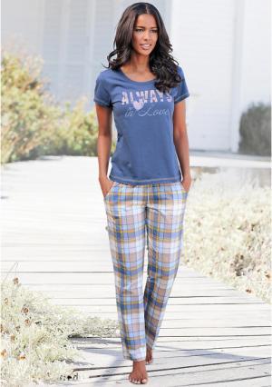 Пижама, 3 части Arizona. Цвет: экрю/синий/в клетку