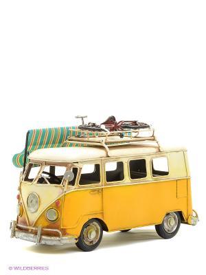 Модель Ретро Автобус с фоторамкой  4х7см PLATINUM quality. Цвет: желтый