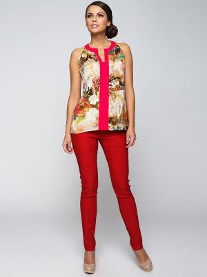 Блузка E.Levy. Цвет: бежевый, красный